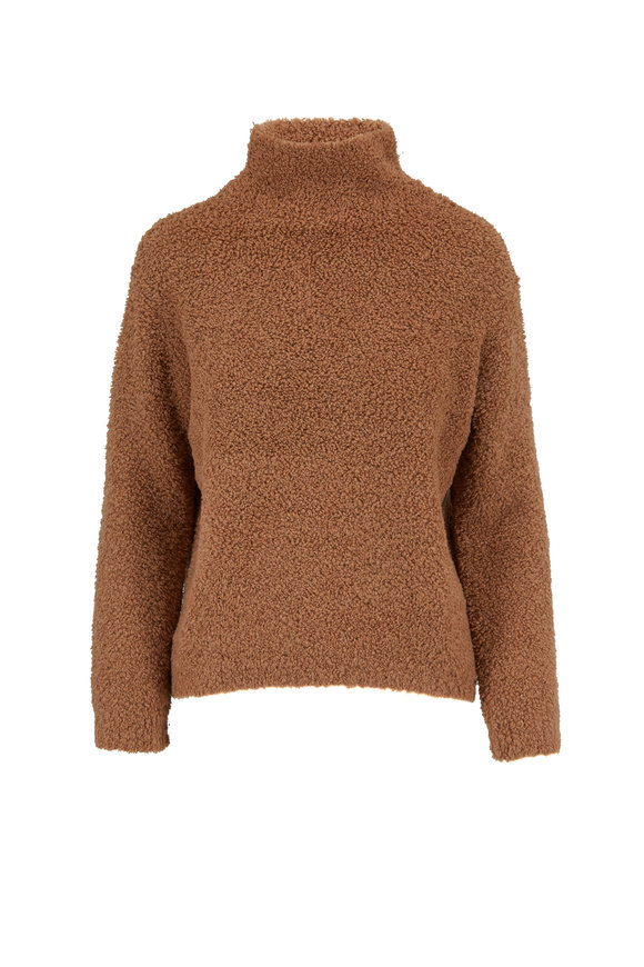 Vince Honeysuckle Bouclé Teddy Funnel Neck Sweater