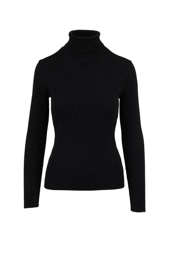 Jonathan Simkhai Black Lurex Turtleneck Sweater