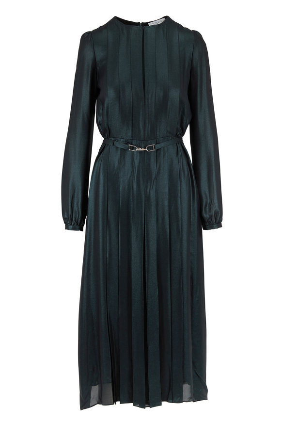 Gabriela Hearst Adelaide Emerald Iridescent Silk Belted Midi Dress