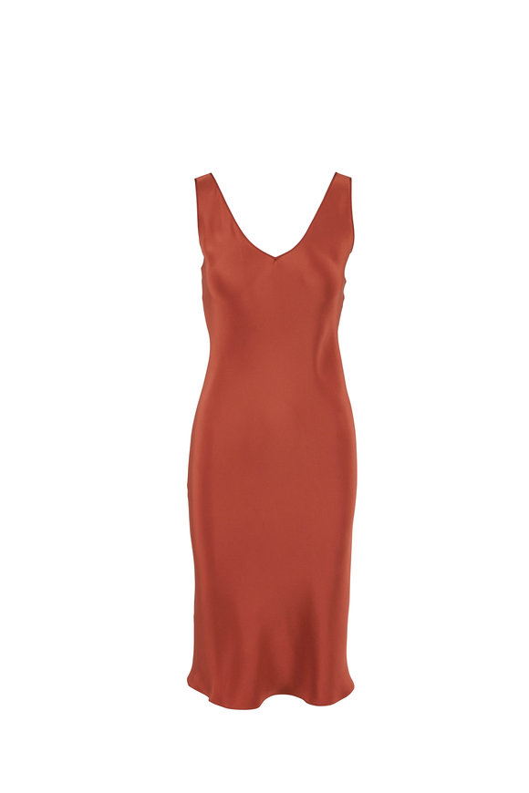 Peter Cohen Paprika Silk Crêpe Double-V Sleeveless Dress