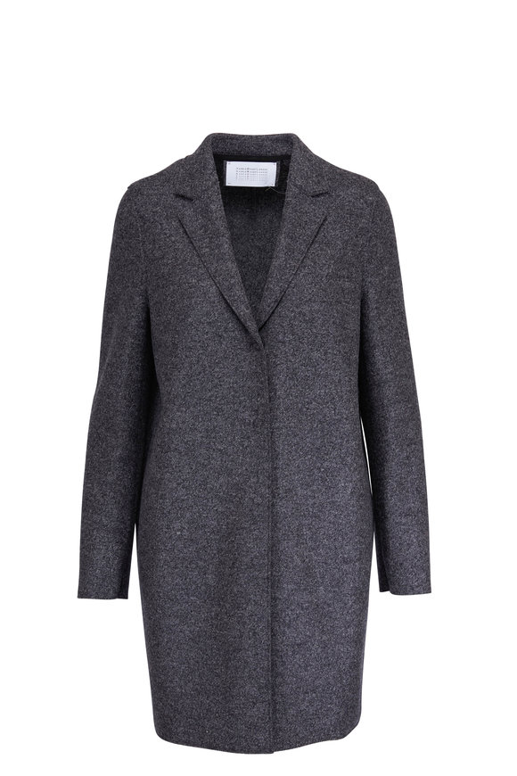 Harris Wharf Anthracite Cocoon Pressed Wool Coat