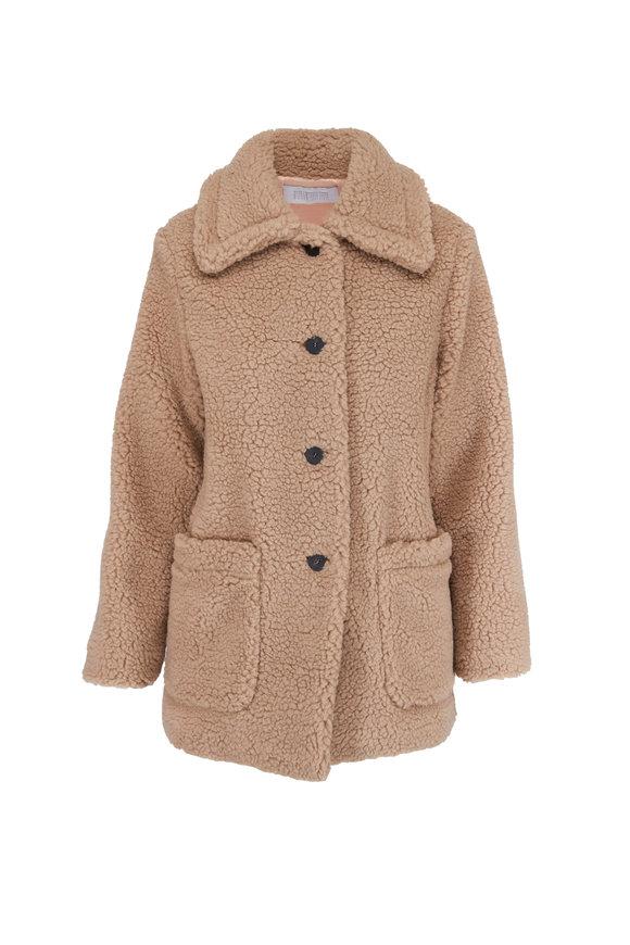 Harris Wharf Tan Shearling Collared Jacket