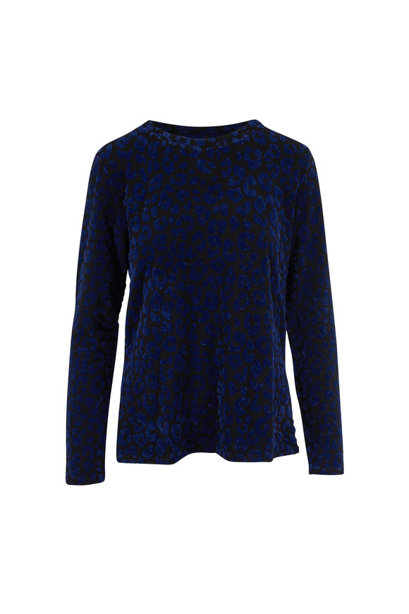 Majestic Black & Navy Leopard French Terry T-Shirt