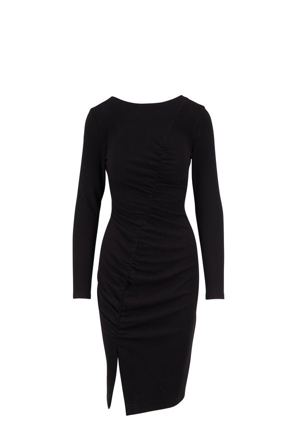 Akris Punto Black Jersey Ruched Front Long Sleeve Dress