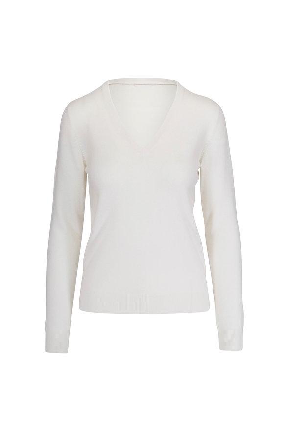 Brunello Cucinelli Basic White Cashmere V-Neck Monili Trim Sweater