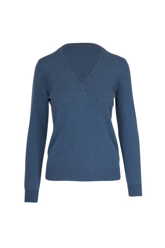 Brunello Cucinelli Basic Lagoon Cashmere V-Neck Monili Trim Sweater