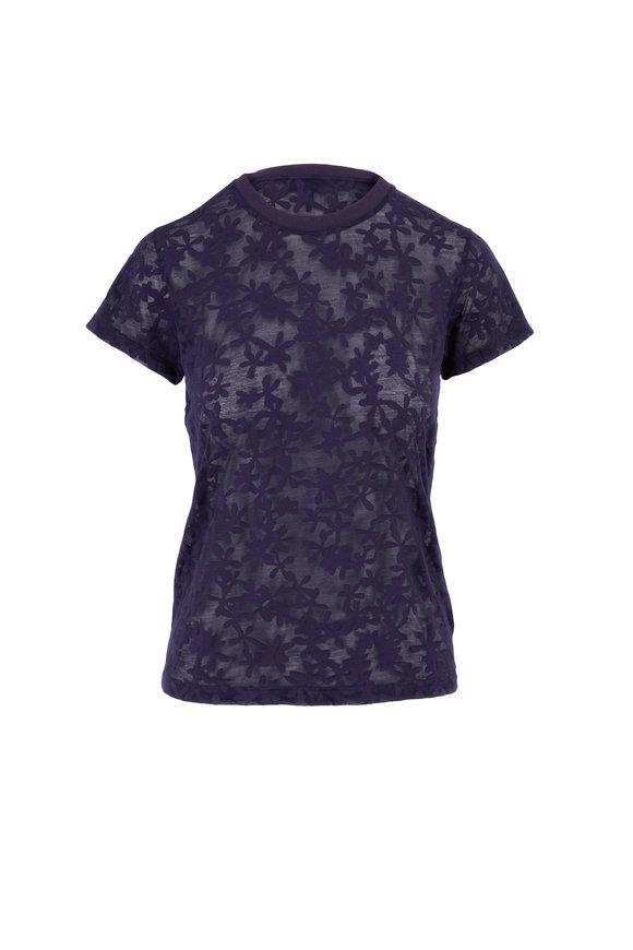 Rag & Bone Valencia Purple Night Sheer Floral T-Shirt