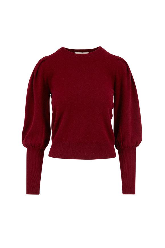Jonathan Simkhai Oxblood Cashmere Puff Sleeve Sweater