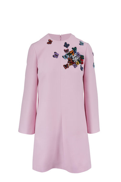 Valentino - Pink Embroidered Butterfly Shoulder Shift Dress