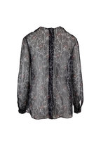 Valentino - Undercover Print Black Chiffon Embroidered Blouse