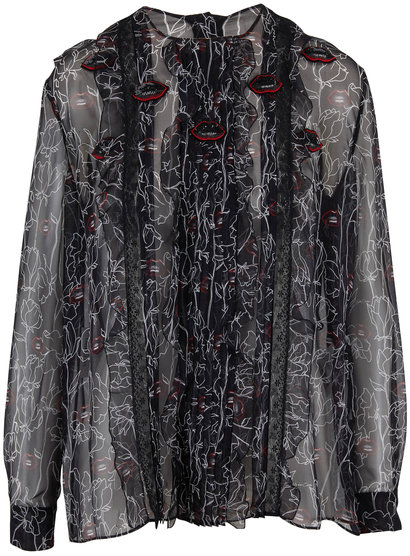 Valentino Undercover Print Black Chiffon Embroidered Blouse