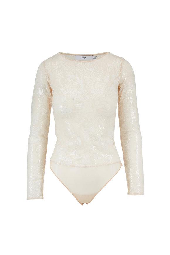 Safiyaa Ivory Sequin Sheer Long Sleeve Bodysuit
