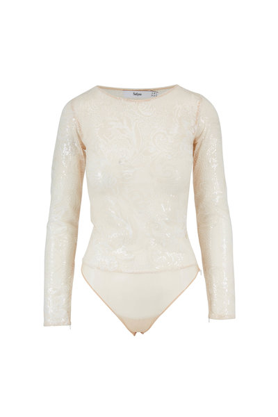 Safiyaa - Ivory Sequin Sheer Long Sleeve Bodysuit