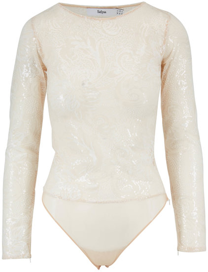 Safiyaa Ivory Sequin Sheer Long Sleeve Bodysuit