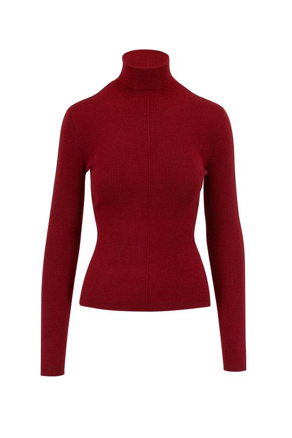 Red Cashmere & Silk Rib Knit Turtleneck