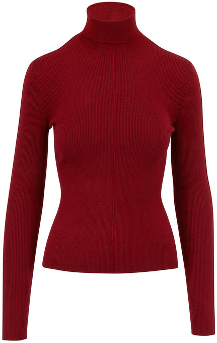 Sally LaPointe Red Cashmere & Silk Rib Knit Turtleneck