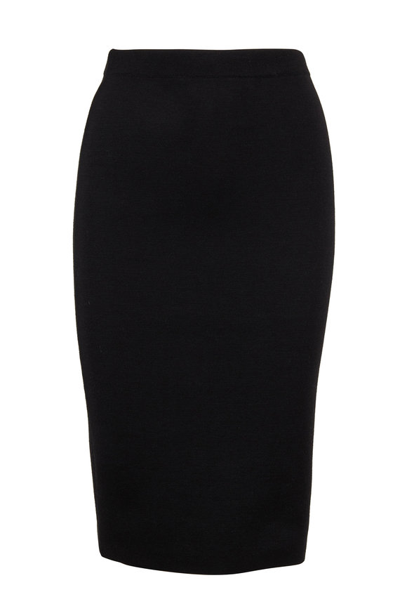 D.Exterior Black Stretch Knit Pencil Skirt