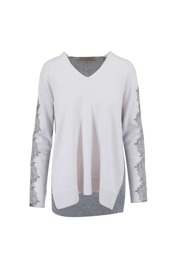 D.Exterior Gray & Cream Cashmere Lace V-Neck Sweater