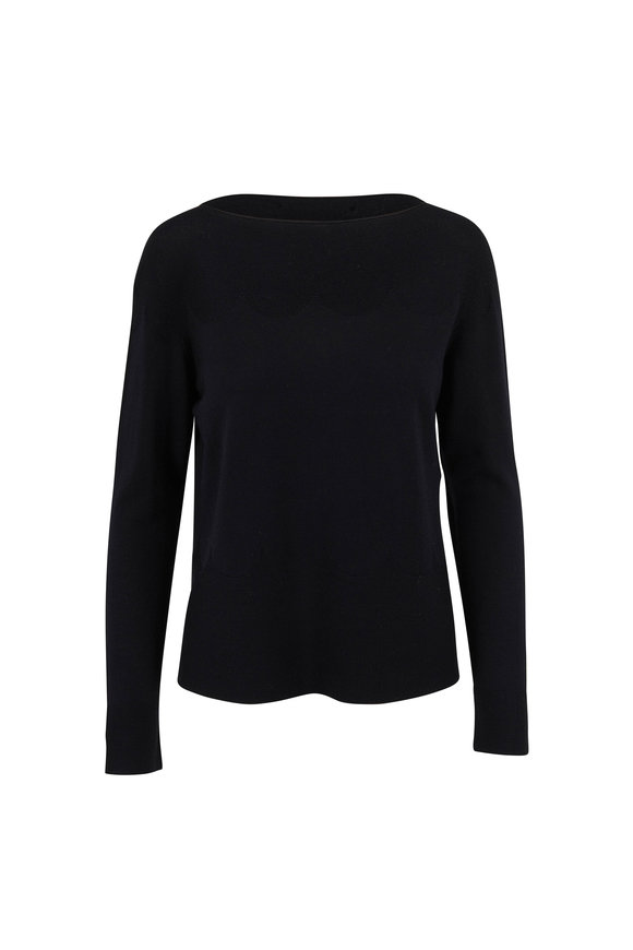 D.Exterior Black Extrafine Wool Scallop Knit T-Shirt
