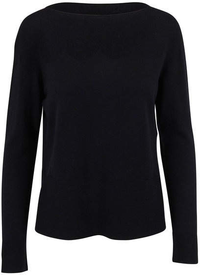 D.Exterior Black Extrafine Wool Scallop Knit T-Shirt
