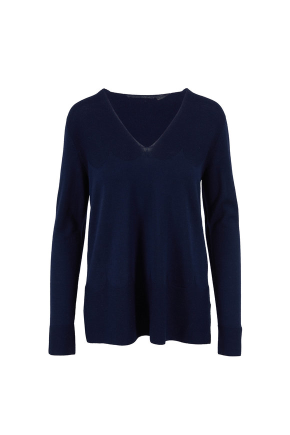 D.Exterior Navy Superfine Wool V-Neck Knit Sweater