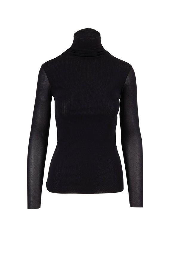 D.Exterior Black Sheer Long Sleeve Turtleneck
