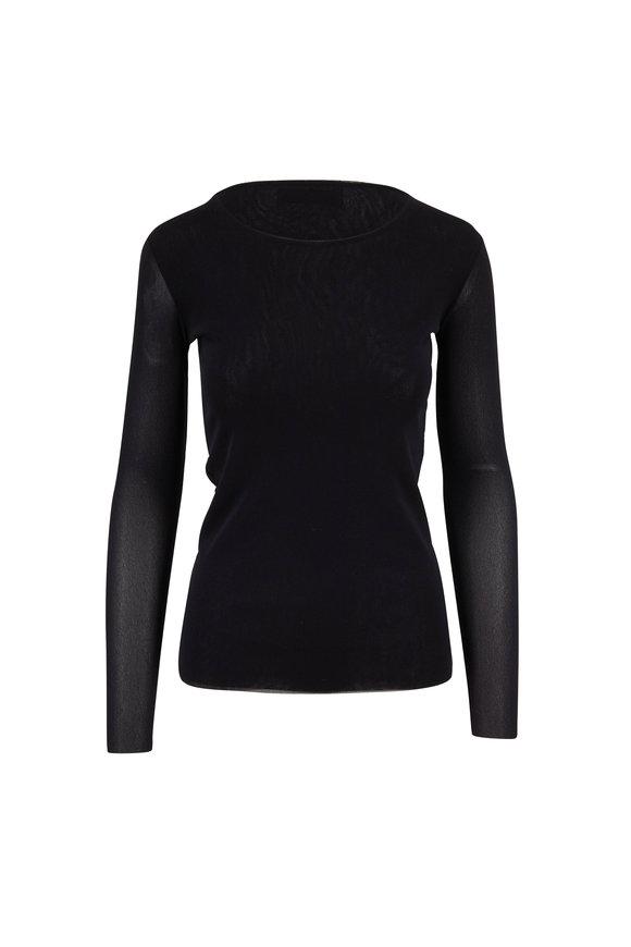 D.Exterior Black Sheer Scoopneck T-Shirt