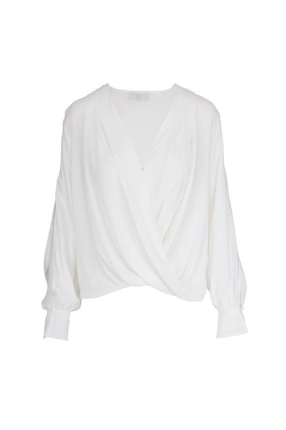 7 For All Mankind White Cross Front Draped Slit Sleeve Blouse