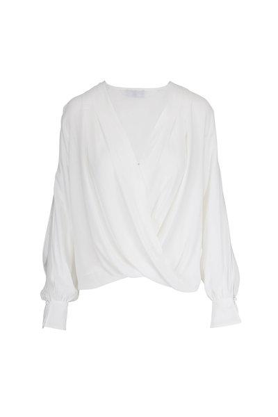 7 For All Mankind - White Cross Front Draped Slit Sleeve Blouse