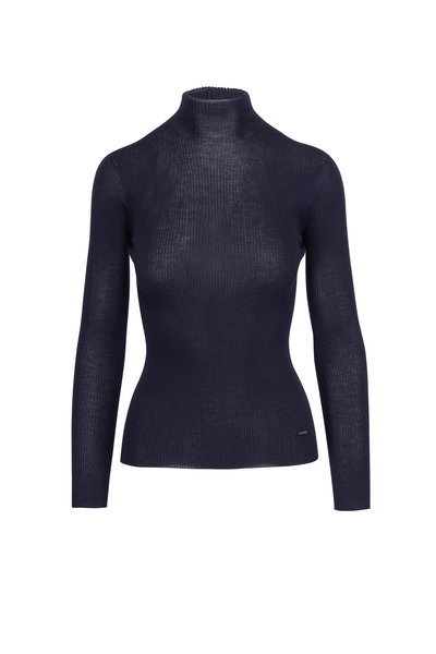Akris - Navy Seamless Ribbed Knit Turtleneck Sweater