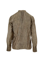 J Brand - Mira Leopard Jacquard Tie Neck Blouse