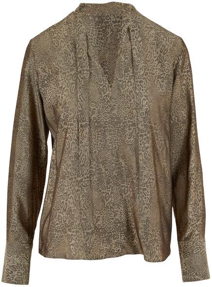 J Brand Mira Leopard Jacquard Tie Neck Blouse