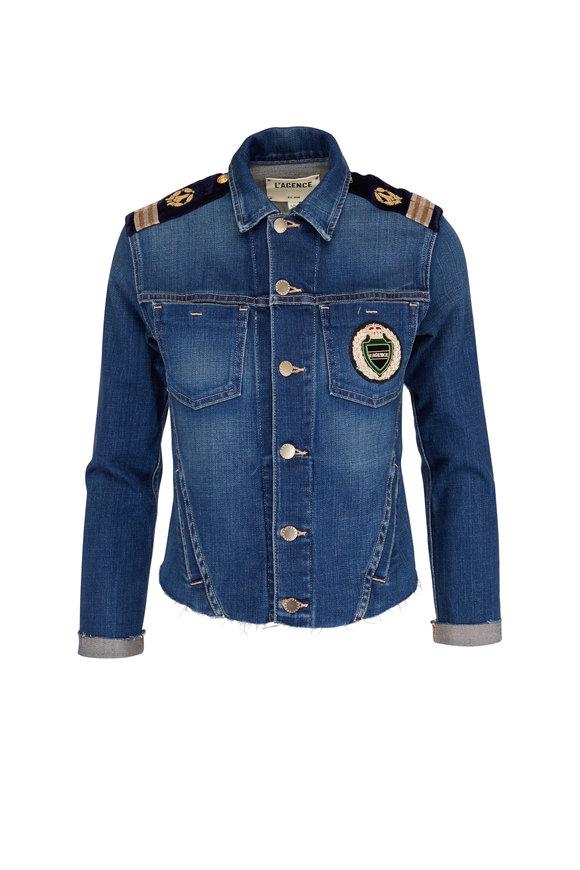L'Agence Janelle Crest Patch Slim Denim Jacket