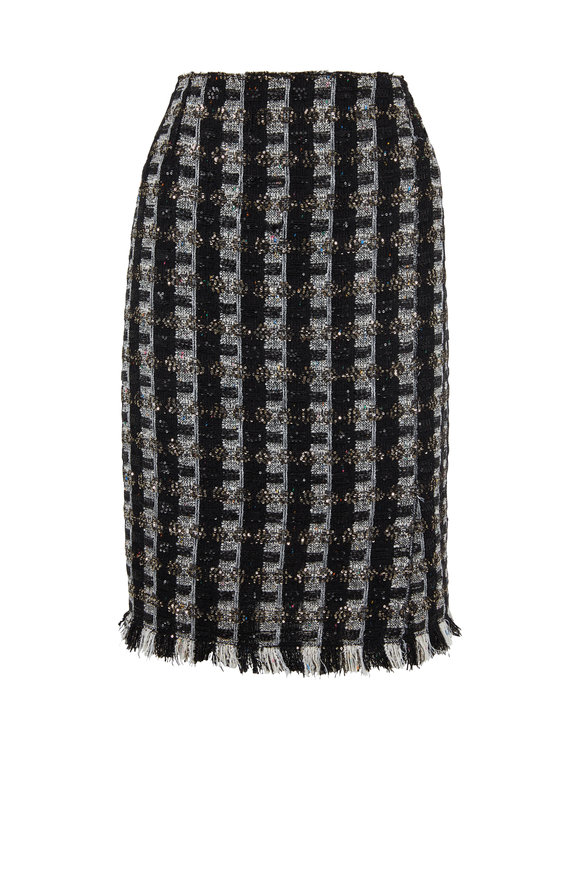 Oscar de la Renta Navy Sequin Tweed Pencil Skirt
