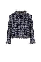 Oscar de la Renta - Navy Sequin Houndstooth Tweed Crop Jacket