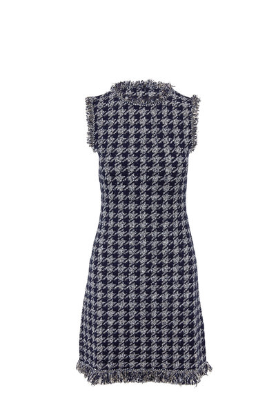 Oscar de la Renta - Navy Sequin Houndstooth Sleeveless Tweed Dress