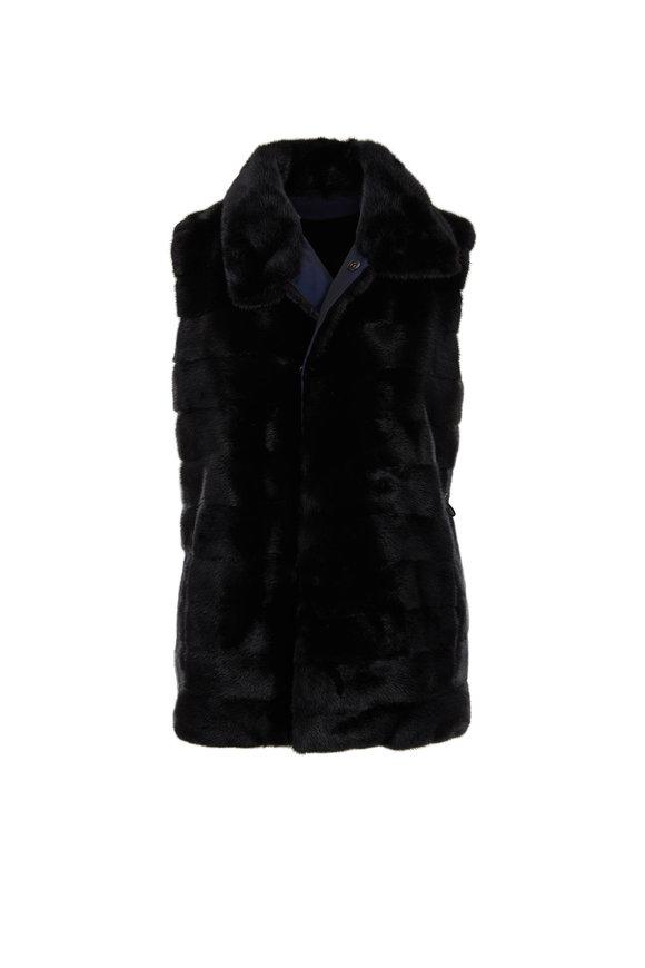 Oscar de la Renta Furs Black Mink Reversible Vest