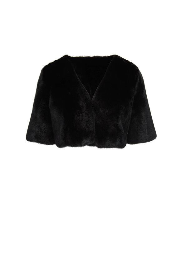 Oscar de la Renta Furs Black Dyed Mink Bolero