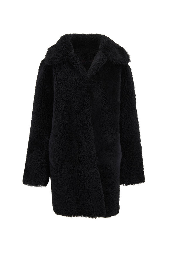 Oscar de la Renta Furs Black Savannah Shearling Reversible Swing Coat