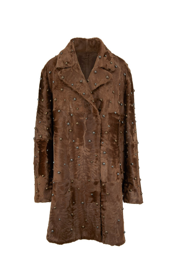 Oscar de la Renta Furs Espresso Lamb Studded Notch Collar Coat
