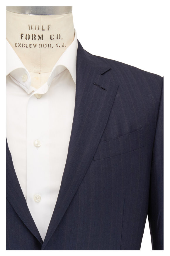 Ermenegildo Zegna Dark Navy Striped Wool & Silk Suit
