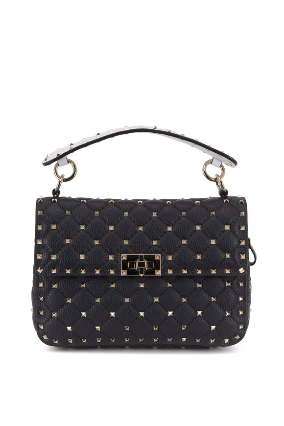 Valentino Garavani Rockstud Spike It Black & White Zip Detail Bag
