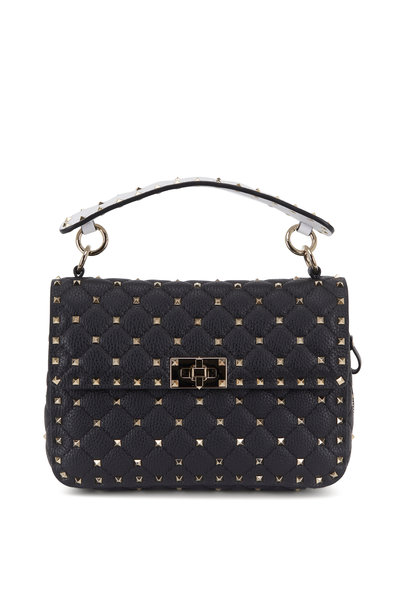 Valentino Garavani - Rockstud Spike It Black & White Zip Detail Bag