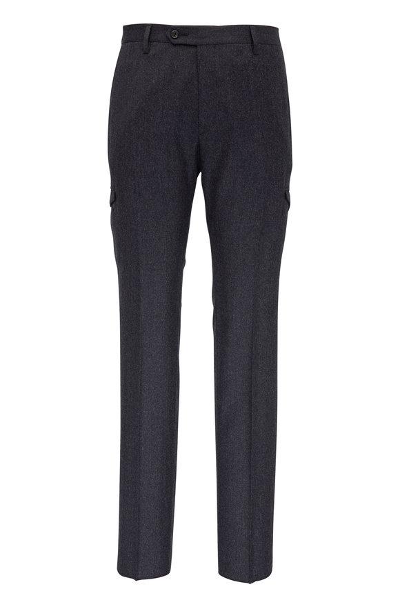 Maurizio Baldassari Charcoal Flannel Cargo Pant