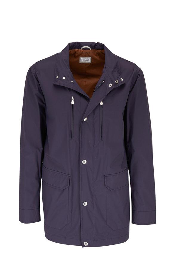 Brunello Cucinelli Navy Hooded Safari Jacket