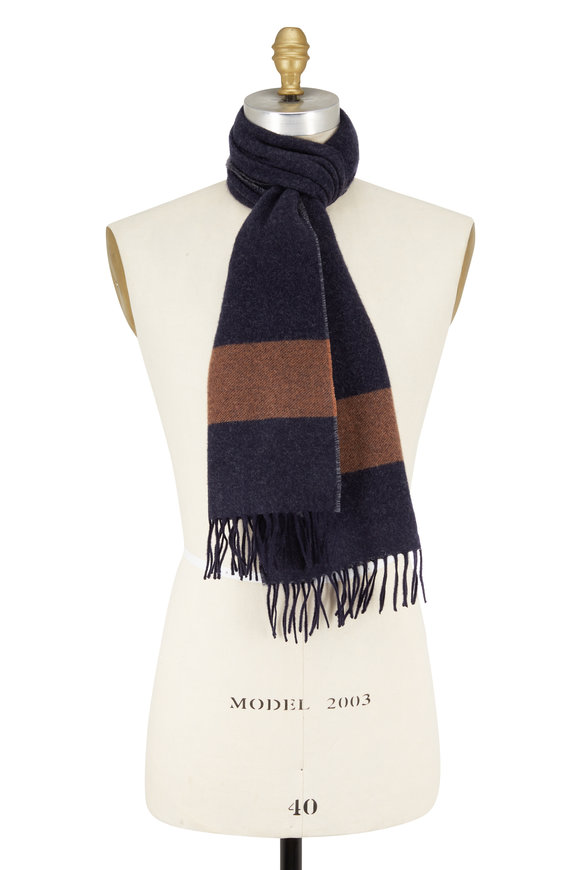 Brunello Cucinelli Navy, Brown & Gray Striped Cashmere Scarf