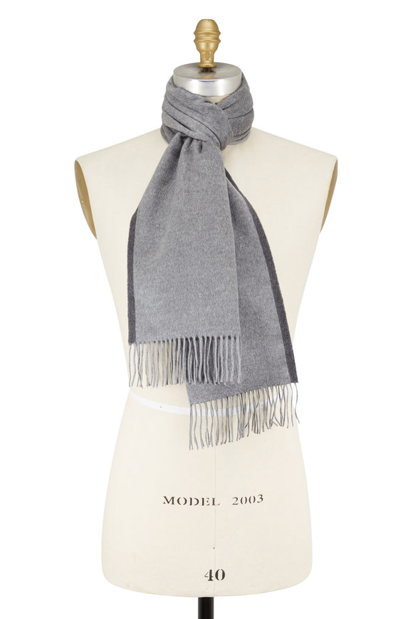 Ermenegildo Zegna Light Gray Double Sided Silk Scarf
