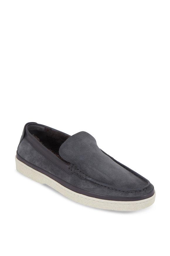 Ermenegildo Zegna Scarpe Medium Gray Suede Shearling Lined Loafer