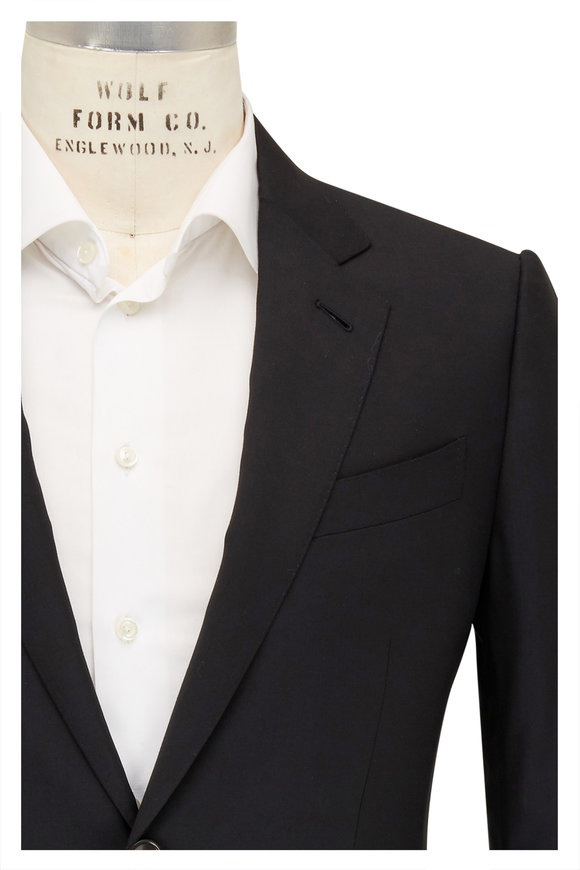 Ermenegildo Zegna Solid Black Wool Suit