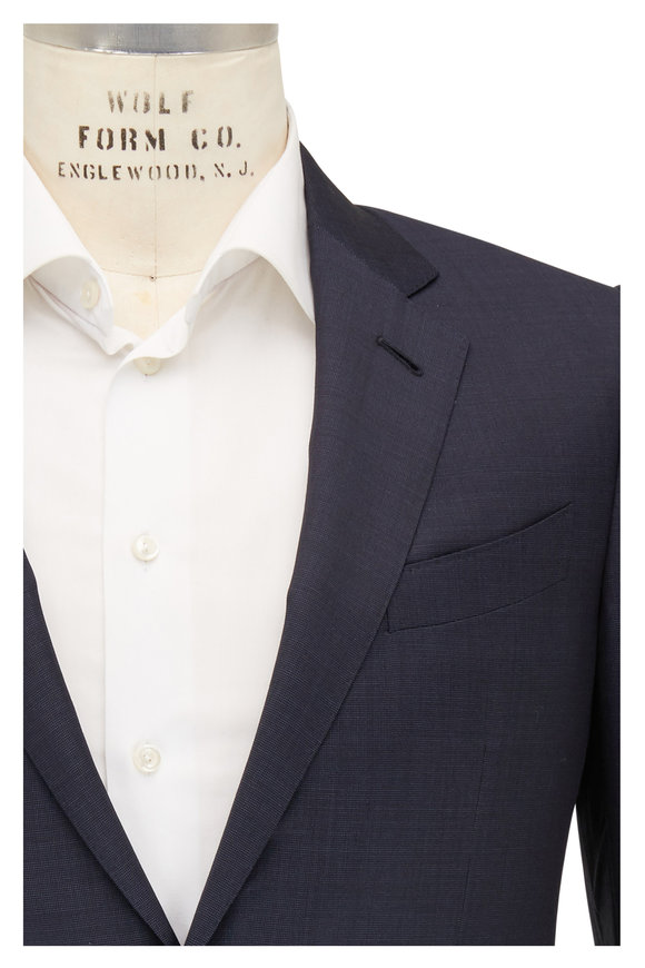 Ermenegildo Zegna Navy Blue Micro Textured Wool Suit